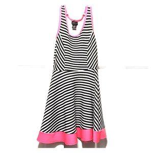 Black,White and Pink striped children's dress